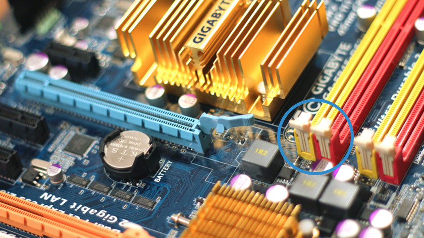 RAM slots on a motherboard.