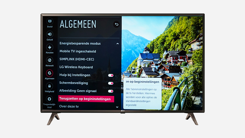 How do I reset my LG television to factory settings