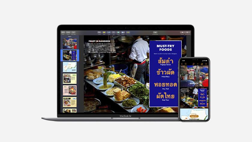 Apple Pages op iPhone en MacBook