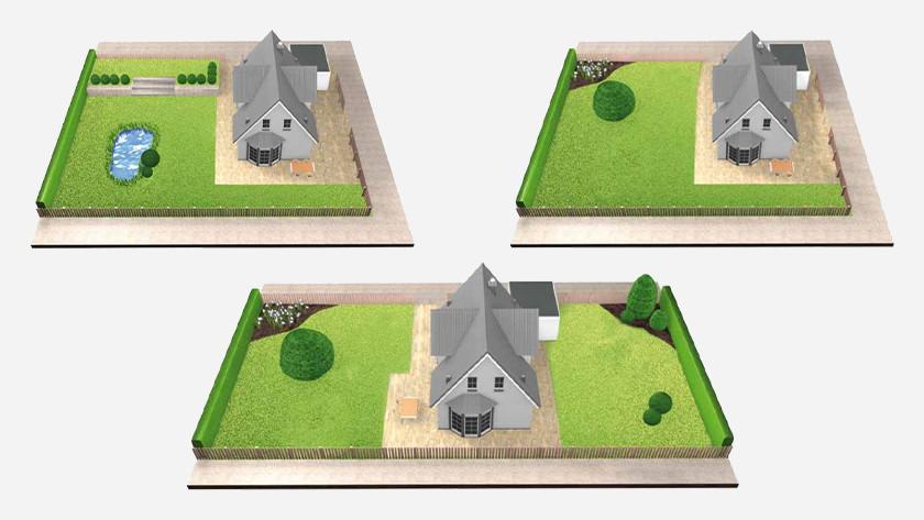 Schetsen van tuinen met één of meerdere gazongedeelten