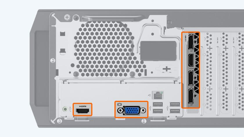 VGA, DisplayPort, HDMI en DVI aansluiting.