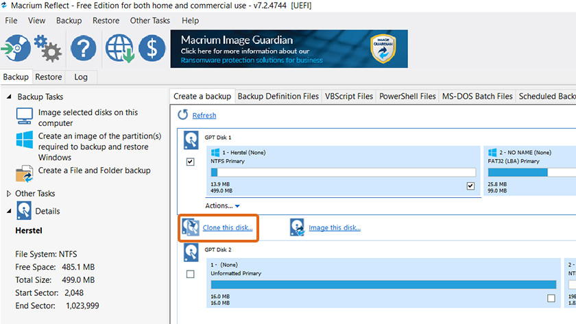 Kloon je data met Macrium Reflect of andere software