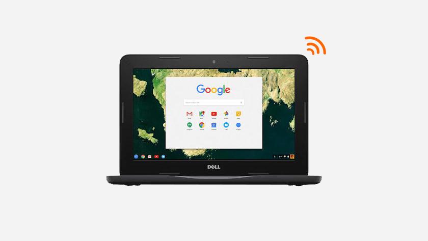 Chromebook verbonden met internet.