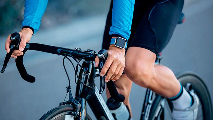 Cyclist with bike watch