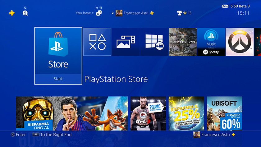 PlayStation main menu
