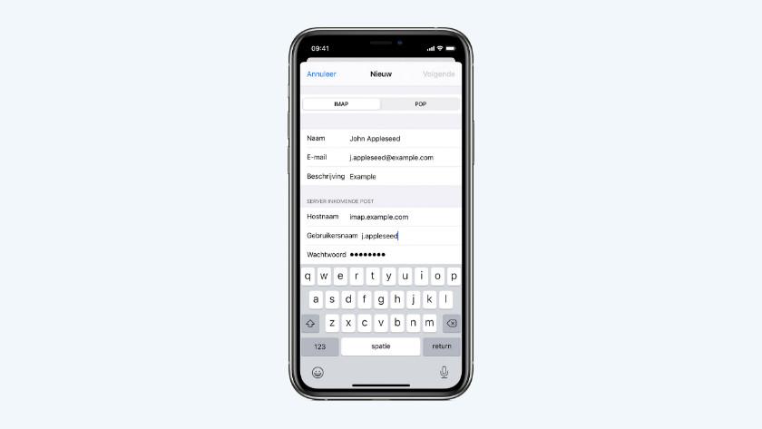 E-mail instellingen iPhone