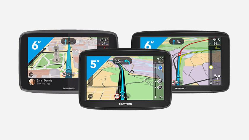 3 TomTom navigatiesystemen met kleurenscherm