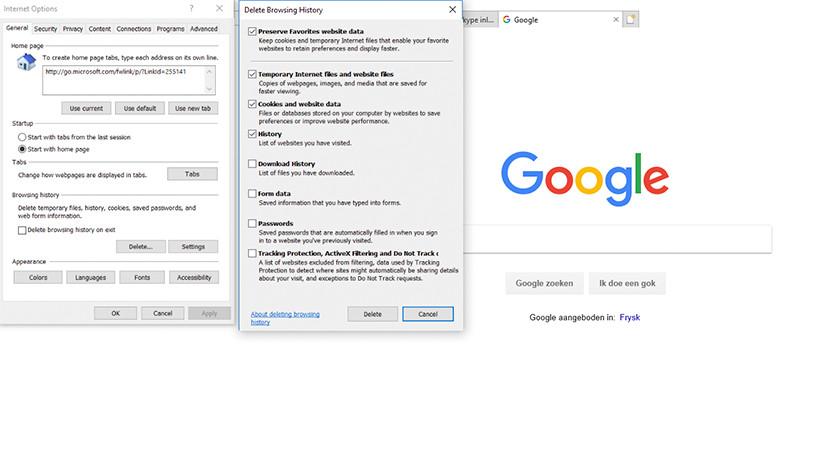 Delete Internet Explorer browser history.