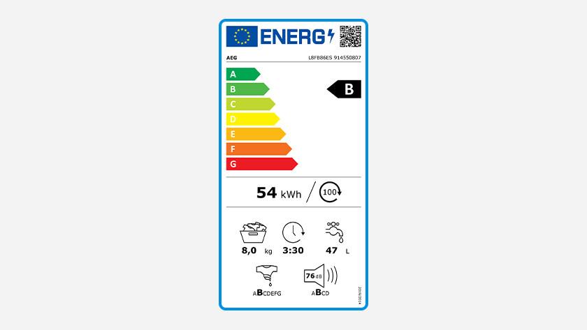 Energy label AEG 8000 series washing machine