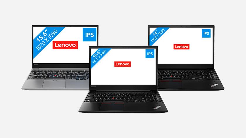 Drie Lenovo ThinkPad laptops.