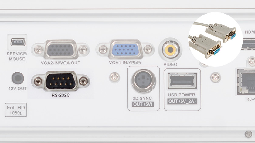 Beamer RS-232 ingang