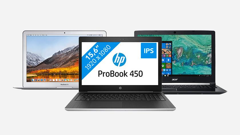 Een MacBook Air, een HP ProBook 450 en een Acer laptop.