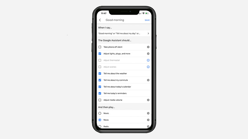 Routines in the Google Home app