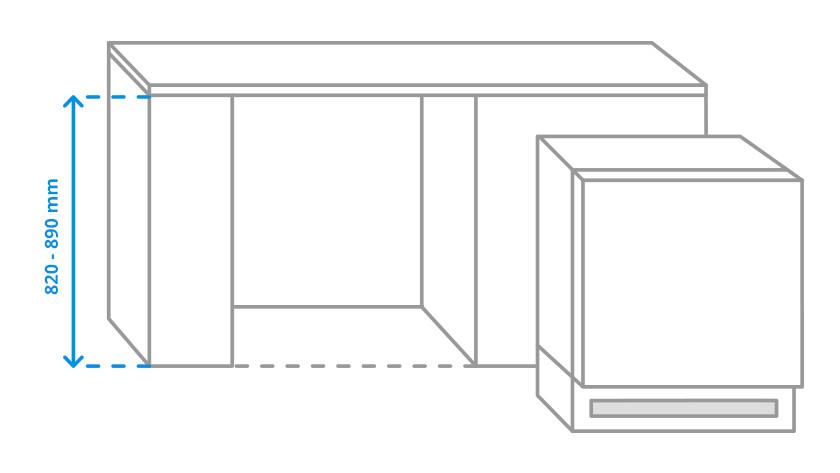 The sizes of a refrigerator / freezer base