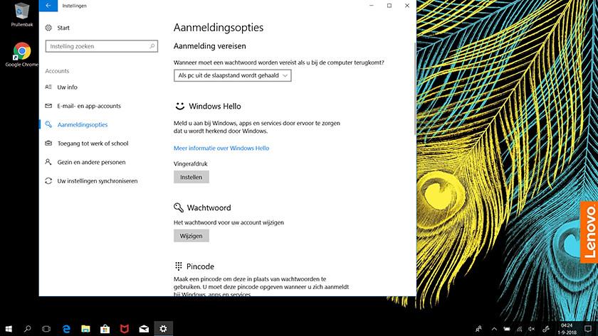 The login options screen in Windows 10.
