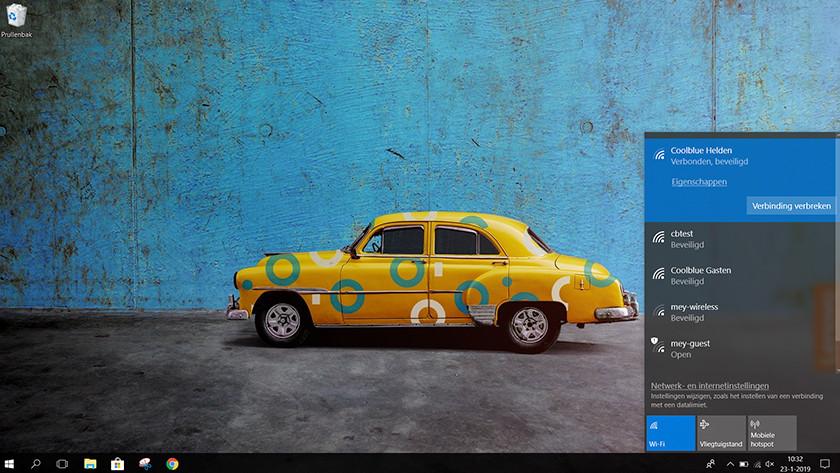 Afbeelding van desktop met wifi menu in Windows 10