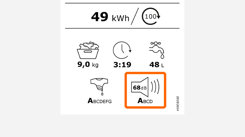 Energy label with washing machine noise level