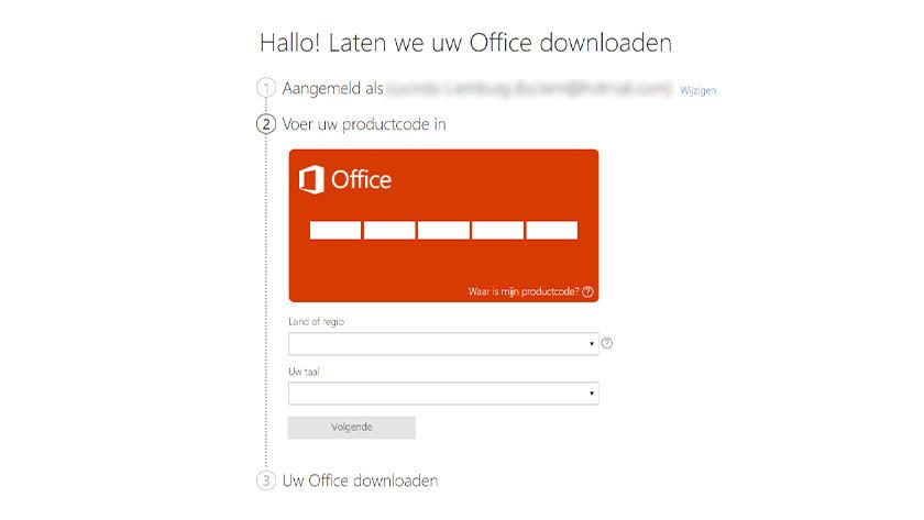 Activeer Microsoft Office via de Microsoft website.