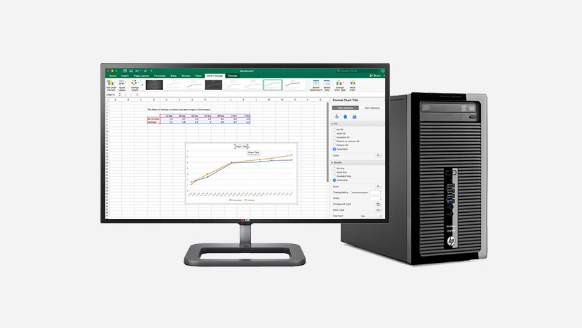 Excel op HP desktop monitor.