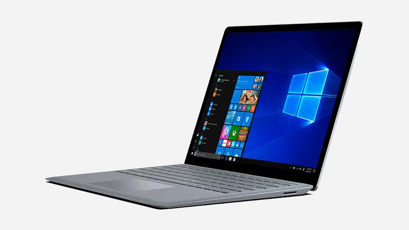 Surface Laptop with Windows start menu.