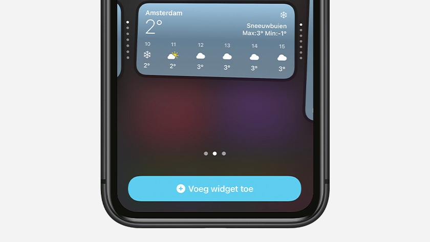 Kies de grootte van tik op 'Voeg widget toe'