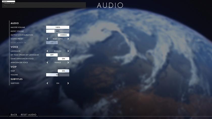 De audioinstellingen van Battlefield 1