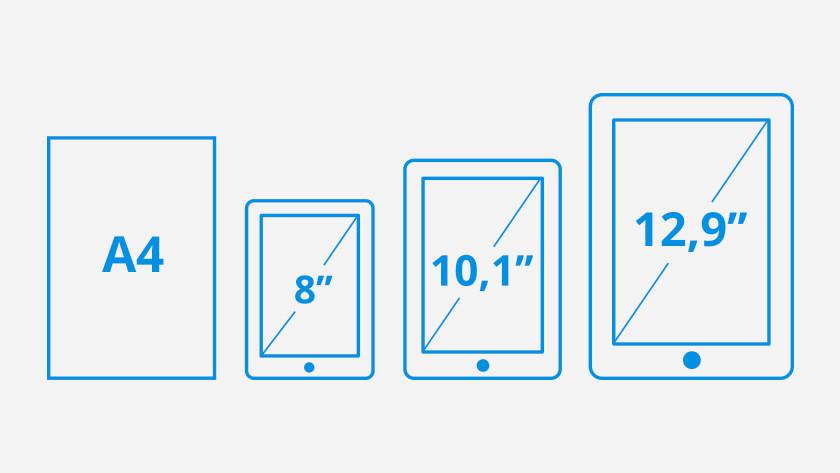 Schermdiagonaal 8 10,1 en 12,9 inch tablets