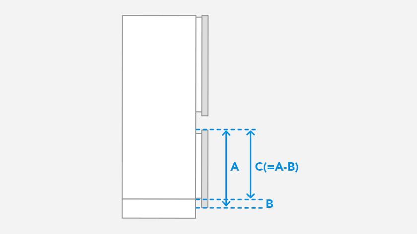 Onderste deurpaneel koelkast meten