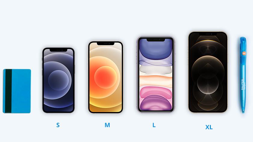 iPhones formaten naast elkaar