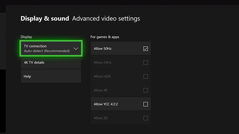 Xbox One X video settings
