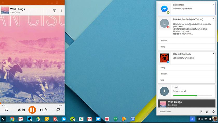 Chrome OS home screen on Chromebook.