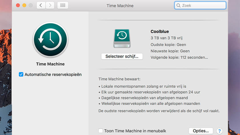 Apple Time Machine automatische reservekopieën