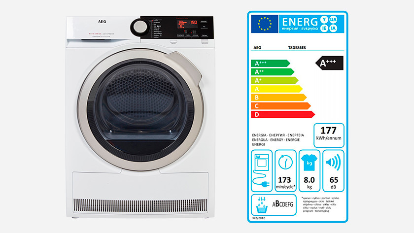 Heat pump dryer with energy label