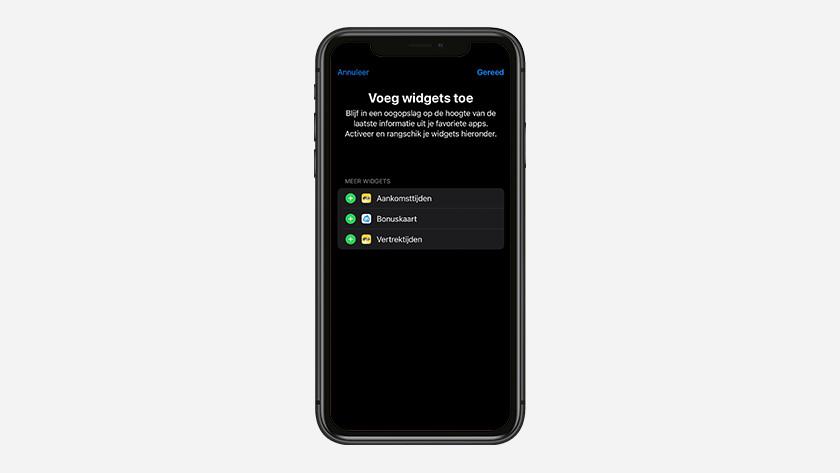 Er verschijnt een lijst met widgets