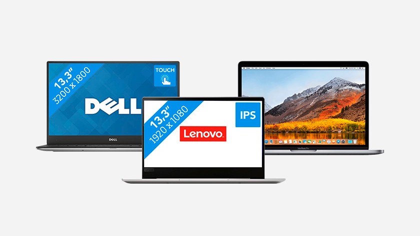 Dell, Lenovo, and MacBook ultrabook.