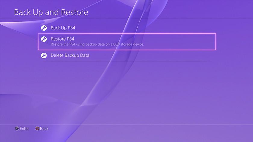 BAckup restore Ps4