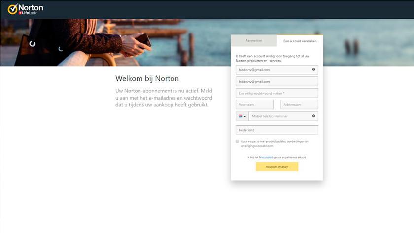 Account aanmaken Norton