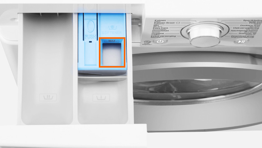 Detergent drawer with compartment for fabric softener