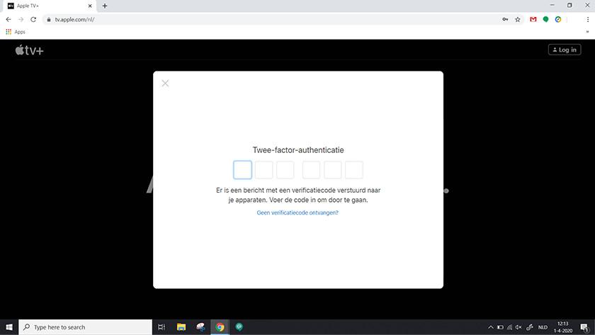 Voer de Twee-factor-authenticatie code in die op je Apple apparaat verschijnt