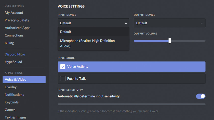 Adjusting the sound in Discord