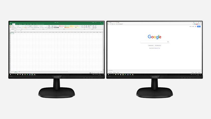 Thuiswerken multitasken 2 monitoren