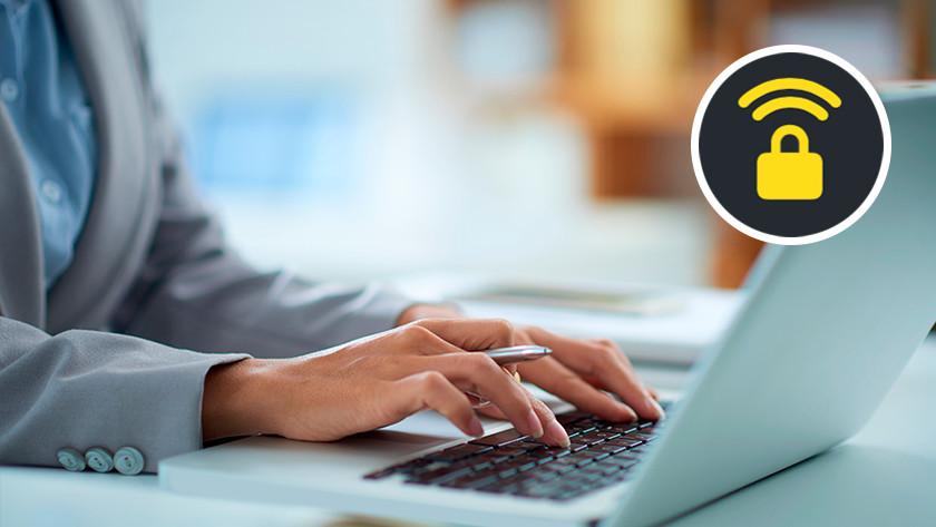 Vrouw werkt op laptop.