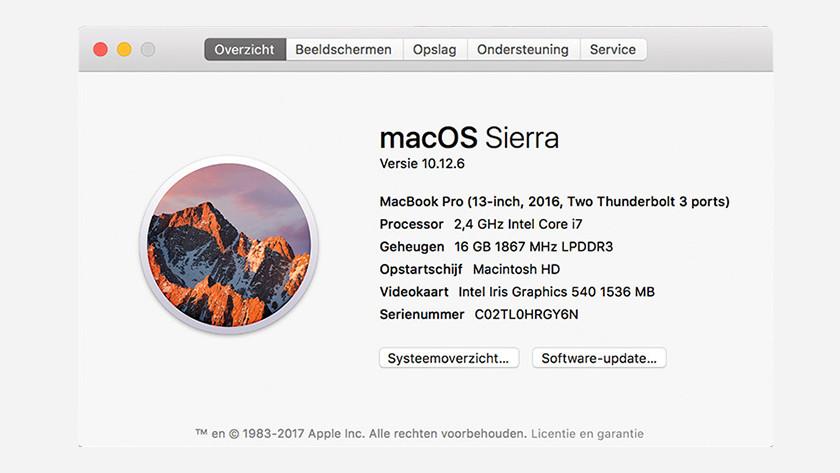 Overzichtmenu op macOS Sierra van de specificaties van je MacBook.