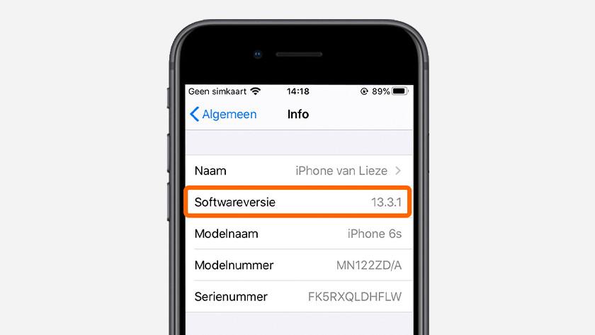 Hier staat je iOS versie