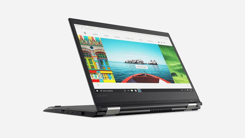 Een laptop in de presentatiestand.