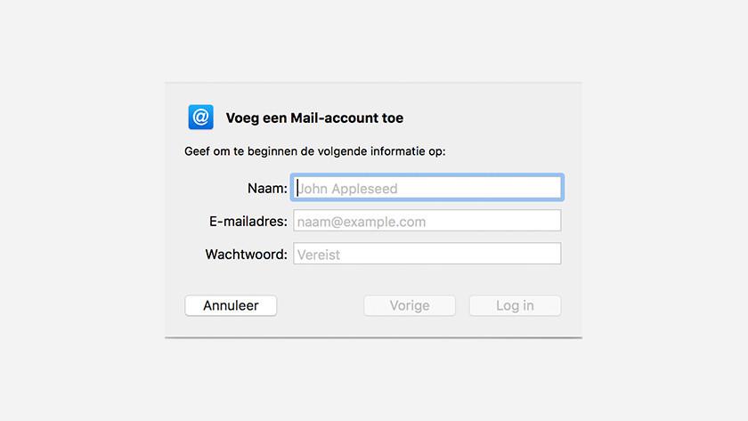 Enter Apple Mail information