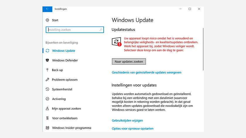 Windows update menu Windows 10.