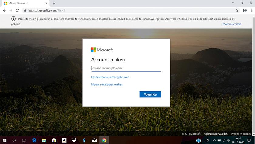 Beginscherm van het aanmaken van een Microsoft account.