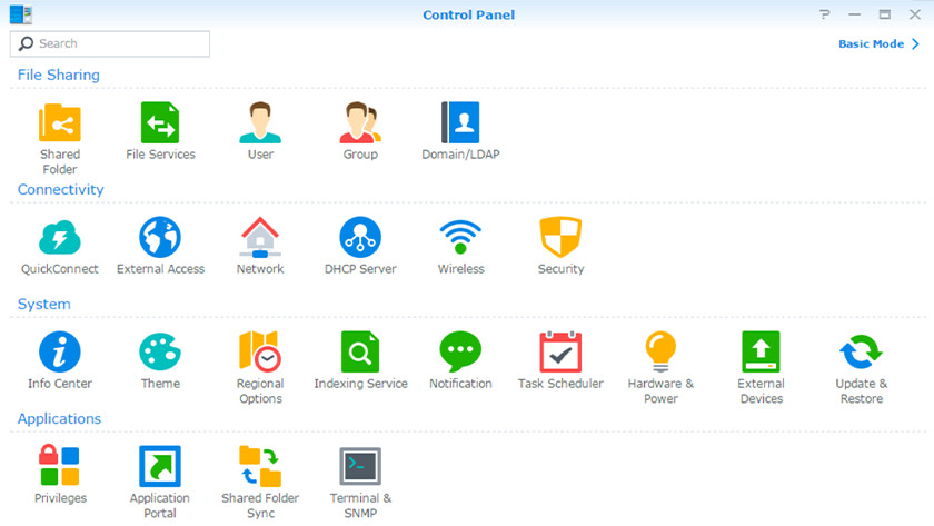 Synology Control Panel for the DSM version