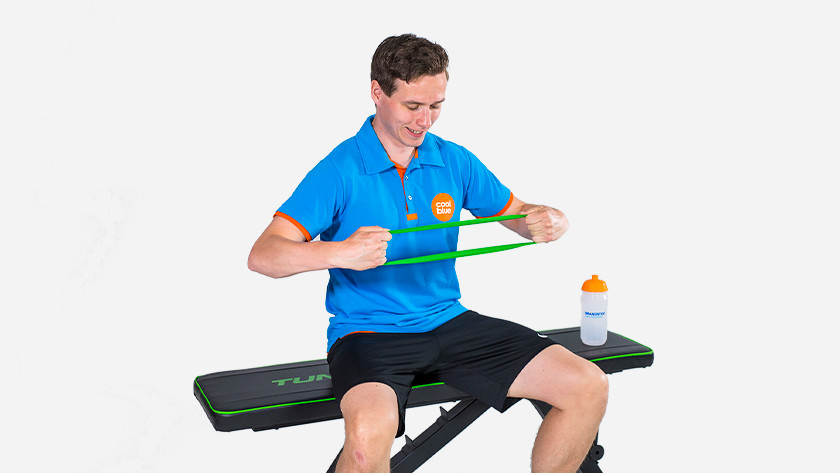 Resistance bands train chest muscles